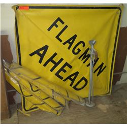 Qty Approx. 4 Yellow Flagman Ahead Signs w/ Metal Frames