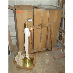 Qty 3 Gold Tone Stanchion Posts, Black Frames