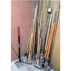 Misc Tools: Rakes, Stanchion Post, Brooms, Digger Tool, etc