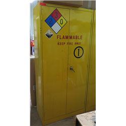 """Metal Yellow Flammable 2 Door Storage Cabinet 36""""x18""""x78"""" & Paint Contents"""