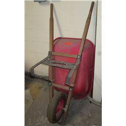Red Wheelbarrow w/ Wooden Handles