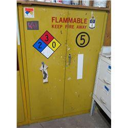 """Metal Yellow Flammable 2 Door Storage Cabinet 43""""x18""""x65"""" & Paint Contents"""