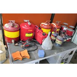 Multiple Metal & Plastic Fuel Cans, Funnel, Car Battery Jumper Cables, etc