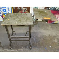 Rolling Metal Shop Table w/ Wood Top & Attached Shelf