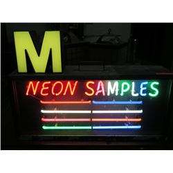"Vintage 'Neon Samples' 8 Color Lighted Display 34""x24""x9"""