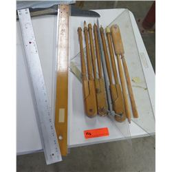 Multiple Straight & Triangle Rulers, Wooden Compass Circle Tools, etc