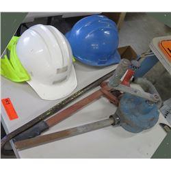 Qty 2 Construction Hard Hats, Manual Hand Crank Pump, etc