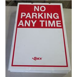 """Multiple White Red No Parking Anytime Signs 12""""x18"""""""