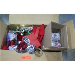 Qty 2 Boxes Red Fabric, Foil Decorations, Gift Boxes, etc