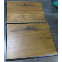 Qty 2 Wooden Plaques w/ Ship Design