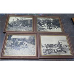 """Qty 4 Black & White """"The Good Old Days"""" Prints in Wood Frames"""