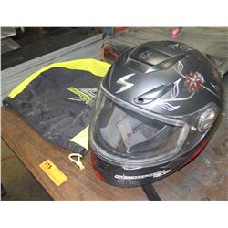 "Scorpion EXO Motorcycle Helmet ""Black Dahlia"" & Storage Bag"
