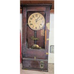 Vintage Simplex Time Recorder Clock in Wooden Case w/ Pendulum