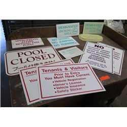 Multiple Misc Signs: Pool Closed, Designated Smoking Area, Tenant Rules, etc