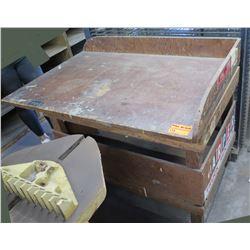 "Wooden Work Table w/ 2 Raised Edges 48""x32""x37"""