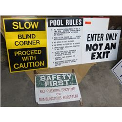 Qty 4 Signs: Slow-Blind Corner, Pool Rules, Enter Only & Safety First