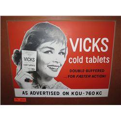 """Vintage Paper Sign: Vick's Cold Tablets 26""""x21"""""""