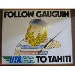 """Vintage Paper Sign: UTA French Airlines to Tahiti 26""""x21"""""""