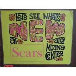 "Vintage Paper Sign: Sears Ala Moana Center 26""x21"""