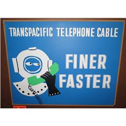 """Vintage Paper Sign: Transpacific Telephone Cable 26""""x21"""""""