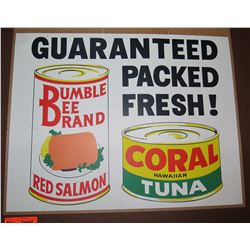 """Vintage Paper Sign: Bumble Bee Brand Red Salmon & Coral Tuna 26""""x21"""""""