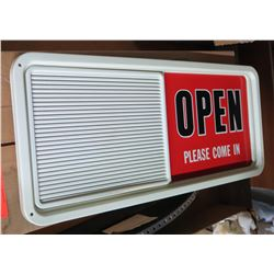 Sign: Open/Closed with Slatted Changeable Letter Board