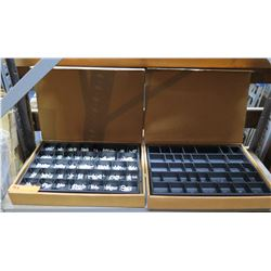 Qty 2 Wood Boxes w/ Multiple Compartments & Davson White Letters