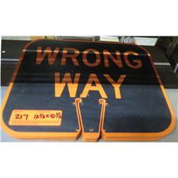 "Multiple Signs: Black Orange Wrong Way 12.5""x10.5"""