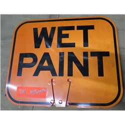 """Sign: Orange Wet Paint 12.5""""x10.5"""""""
