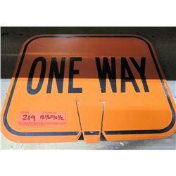 "Sign: Orange One Way 12.5""x10.5"""