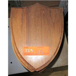 Qty 9 Shield Shape Wooden Plaques