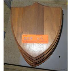 Qty 5 Shield Shape Wooden Plaques