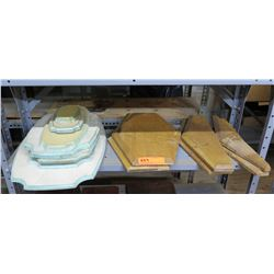 Multiple Wood & White Plaques, Misc Shapes