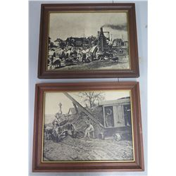 Qty 2 Black & White Cement Mixer/Earth Movers Prints in Wood Frames