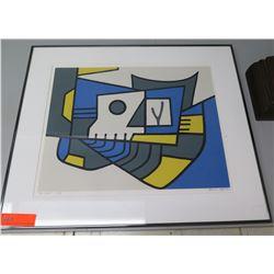 "Framed Abstract Art Work Signed Tadashi Sato '82 w/ Matting 26""x22"""