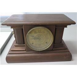 "Vintage Clock in Wooden Case w/ Lion Side Handles 16""x10"""