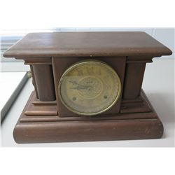 "Vintage Clock in Wooden Case w/ Lion Side Handles 16""x10"""