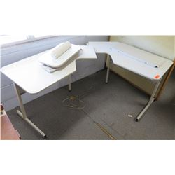 "Qty 2 White Tables w/ Metal Legs, Corner Cut-Out & Inserts 27""x33"""