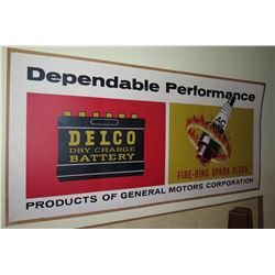 """Vintage Sign: General Motors Delco Battery & Fire Ring Spark Plugs 44""""x21"""""""