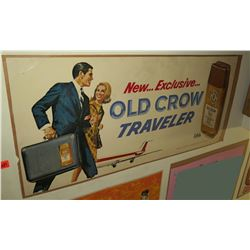 "Vintage Paper Sign: Old Crow Traveler Whiskey 44""x21"""