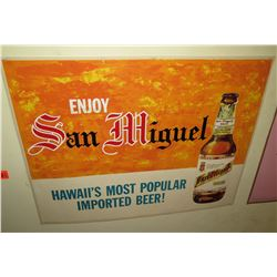 "Vintage Paper Sign: Enjoy San  Miguel Beer 37""x21"""