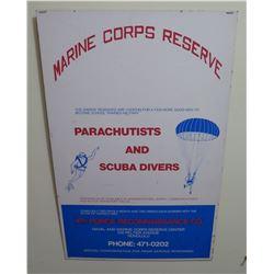 "Vintage Sign: Marine Corps Reserve Parachutists And Scuba Divers 48""x22"""