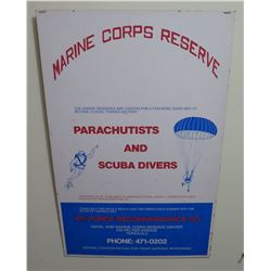 "Vintage Paper Sign: Marine Corps Reserve Parachutists And Scuba Divers 48""x22"""