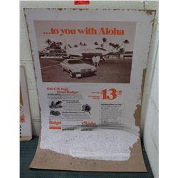 "Vintage Paper Sign: Budget Rent a Car…To You With Aloha 44""x28"", Damaged"