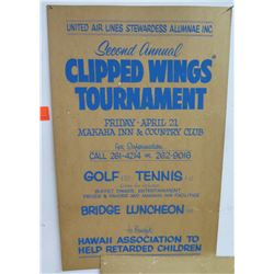 Vintage Paper Sign: United Air Lines Stewardess Clipped Wings Tournament