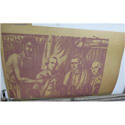 "Screen-Printed Print: Men Sitting Art Piece 44""x28"""