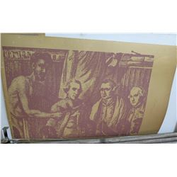 "Screen-Printed Print on Paper: Men Sitting Art Piece 44""x28"""