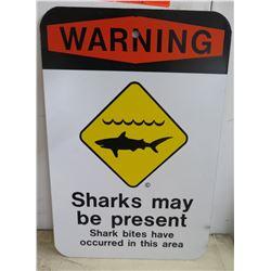 """Metal Sign: Warning Sharks May Be Present 12""""x18"""""""