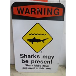 "Metal Sign: Warning Sharks May Be Present 12""x18"""