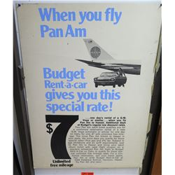 """Vintage Sign: Pan Am Budget Rent a Car Special Rate 38""""x28"""""""